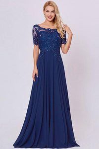 Dark Navy A-Line Short Sleeves Beading Long Chiffon Formal Prom Dresses