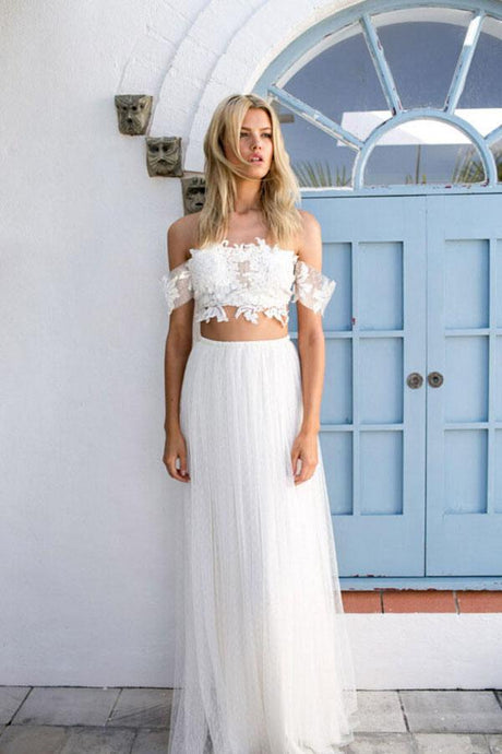 White A-Line Tulle Destination Wedding Dresses with Off-the-Shoulder by Lace Appliques