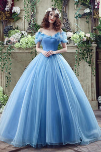 Blue Astounding Organza Ball Gown Off The Shoulder Basque Quinceanera Dresses