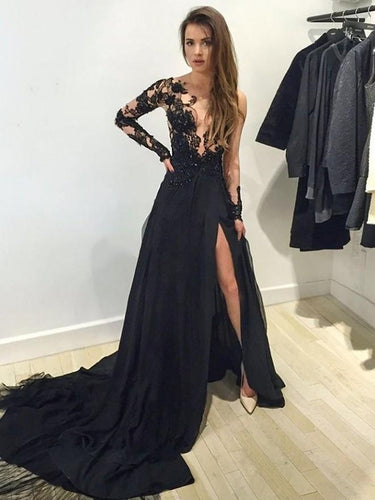 Black Gorgeous Natural Long Sleeve Court Train Prom Dresses