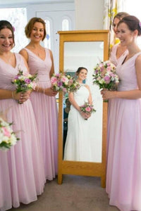 Dignified Chiffon Floor-length Sleeveless Natural Bridesmaid Dresses
