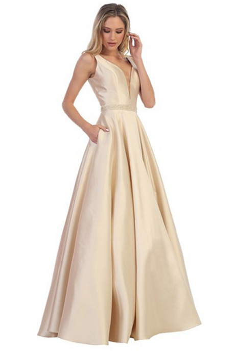 Champagne A-line Sleeveless Long Formal Prom Dress Evening Gown