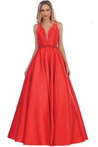 Red A-line Sleeveless Long Formal Prom Dress Evening Gown