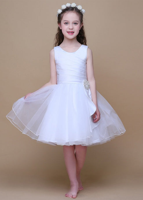 Outstanding White Sleeveless Zipper Flower Girl Dresses