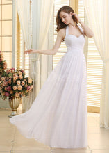 White Classical A-Line Lace-up Natural Wedding Dresses