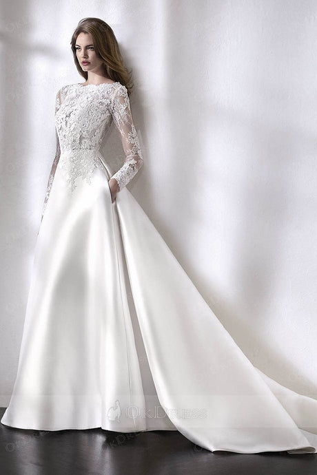 Ivory Embellished Elegant Long Sleeves Wedding Dresses with V-back