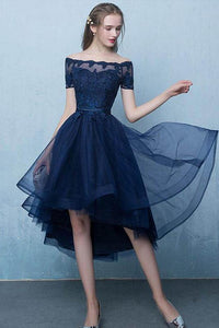 Sexy High-low Off-the-Shoulder Lace-up Prom Dresses with A Sash