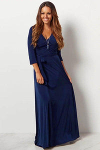 V-neck 3/4 Sleeves Sleeves Sheath Maxi Dresses With Tie Belt