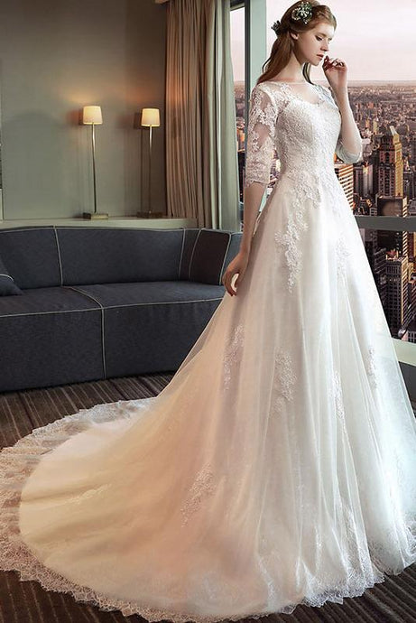A-line 3/4 Sleeves Illusin Neckline Long Bridal Wedding Dresses