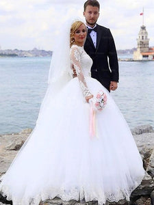 Ivory Bright Ball Gown Long Sleeves Wedding Dresses