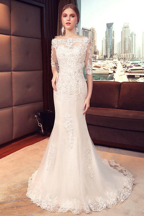 Trumpet/Mermaid Off-the-shoulder 1/2 Sleeves Beading Bridal Wedding Dresses