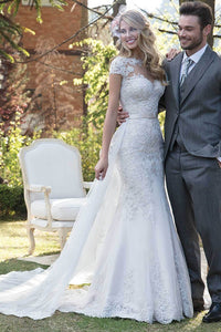 Mermaid Illusion Short Sleeves Lace Wedding Dresses