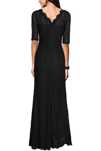 Black Formal Sheath/Column 1/2 Sleeves Long Lace Evening Gown Dresses