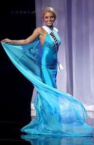 Blue Virginia Cassy Trickett Chiffon Long Backless Celebrity Pageant Dresses Miss Teen USA 2016
