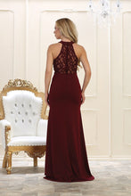 Sheath/Column Sleeveless Halter Beading Burgundy Long Prom Dresses