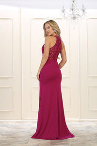 Sheath/Column Sleeveless Halter Beading Red Long Prom Dresses