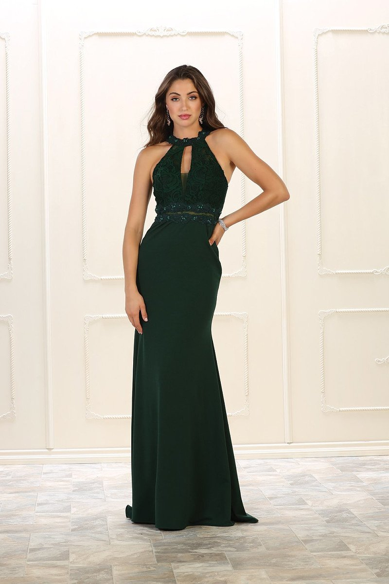 Sheath/Column Sleeveless Halter Beading Long Prom Dresses