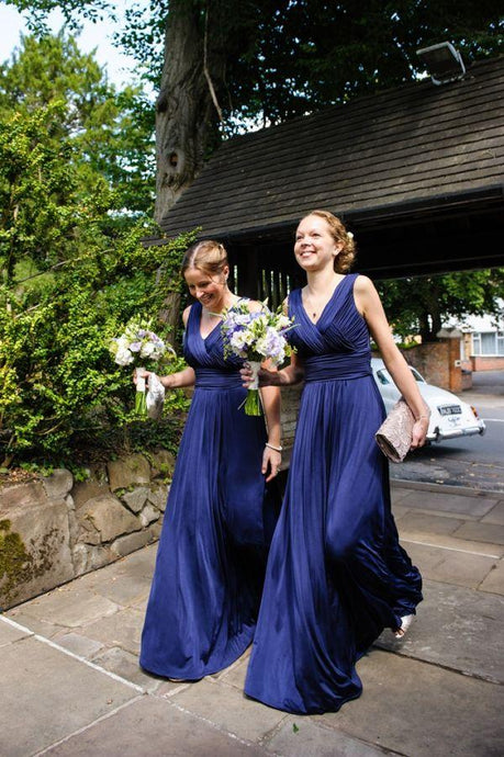 Adorable V-neck Long/Floor-length Royal Blue Bridesmaid Dresses
