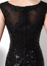 Black Outstanding Sleeveless Bateau Sequined Evening Dresses
