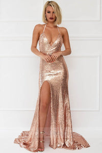 Trumpet/Mermaid Halter V-neck Front Split Long Formal Prom Dresses