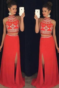Red Two-Piece A-line/Princess Sleeveless Zipper Long Prom Dresses