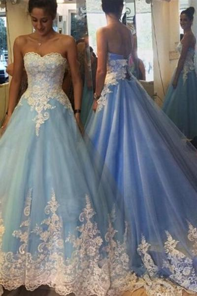 Sky Blue Captivating Starpless Sweetheart Applique Organza Lace-up Ball GownProm Dresses