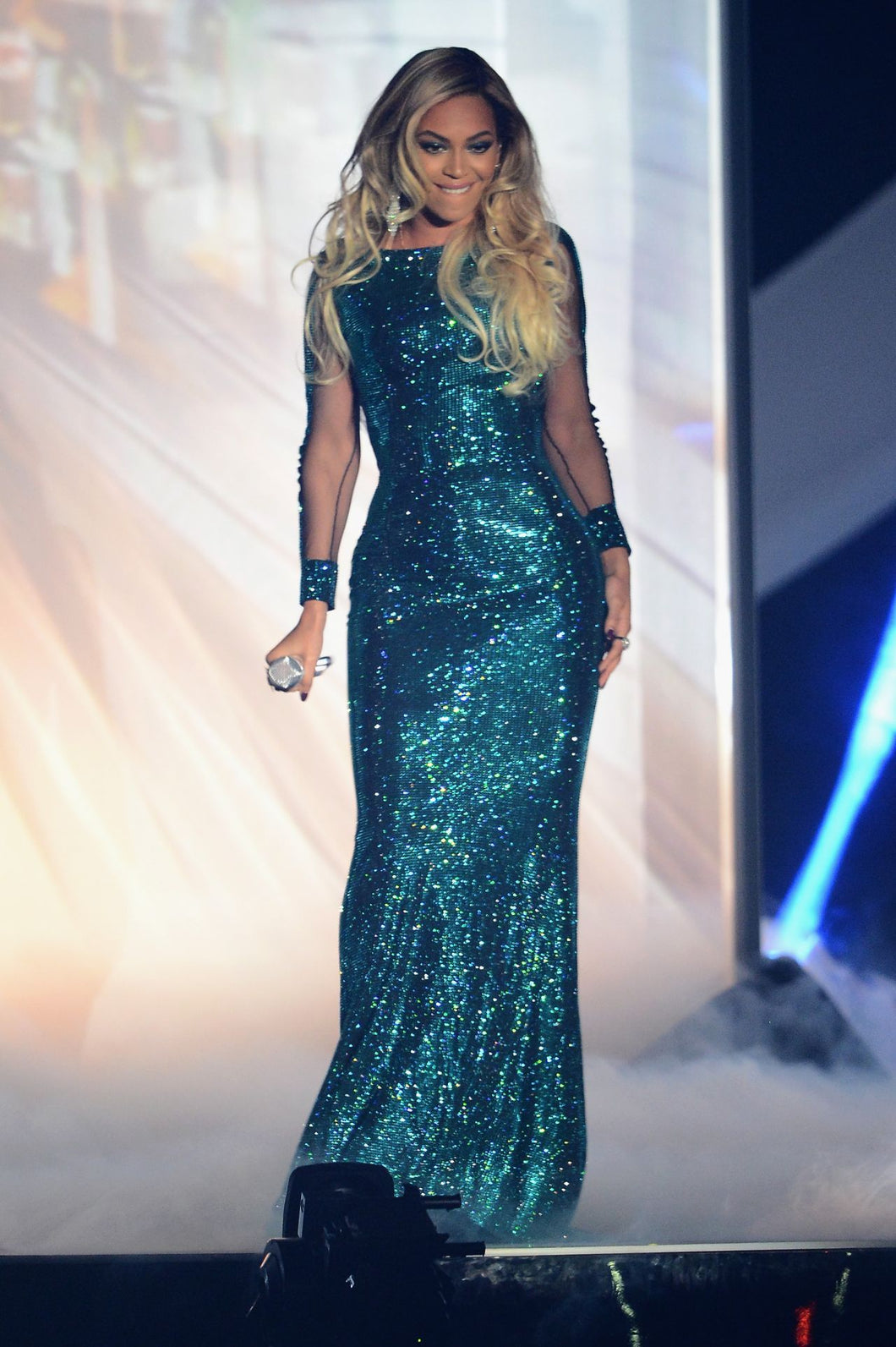 Beyonce Bateau Blue Sequined Long Sleeves Celebrity Prom Dresses Brit 2014