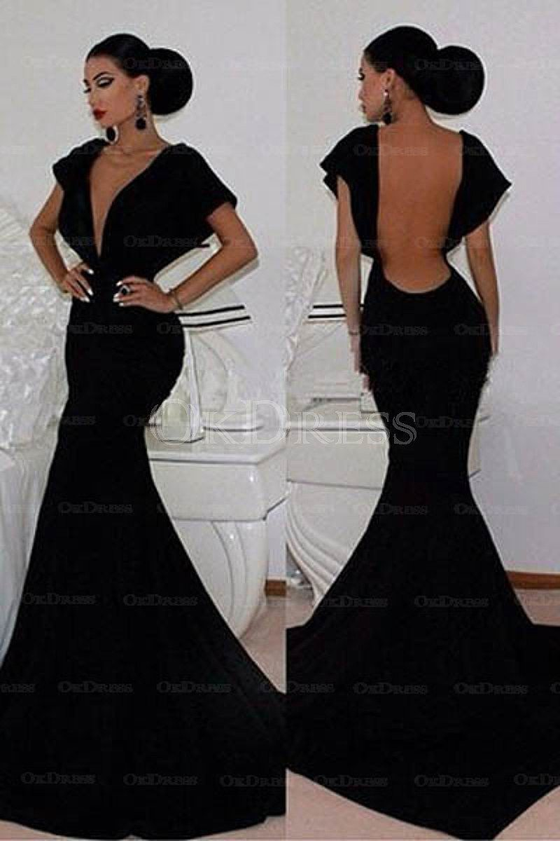 Black Fascinating Chapel Train Zipper Up at Side Short Sleeve Natural Satin Prom Dresses