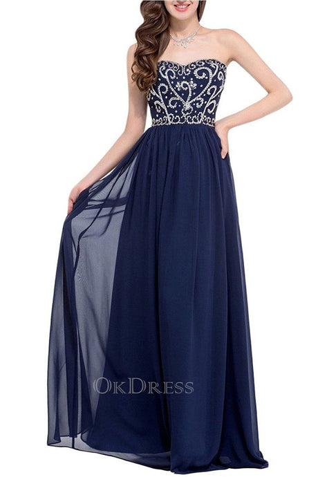 Dark Navy A-line Chiffon Strapless Beading Lace-up Long Evening Dresses