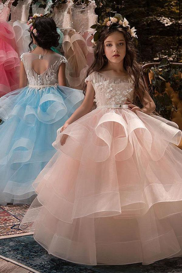 Ball-Gown Tulle Scoop Beaded Neck Flower Girl Dress