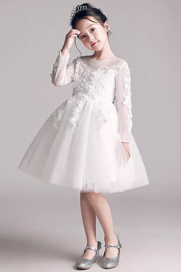 e6c80a1b591 Long Sleeves Knee-length Lace Applique Tulle Flower Girl Dresses ...