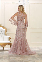 Trumpet/Mermaid Long Sleeves Beading Long Tulle Evening Dresses