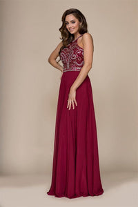 Burgundy A-line Floor-length Beading Sleeveless Long Chiffon Formal Prom Dresses
