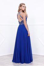 Royal Blue A-line Floor-length Beading Sleeveless Long Chiffon Formal Prom Dresses
