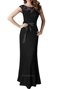 Mermaid/Trumpet Lace Bateau Cap Sleeves Long Evening Gowns