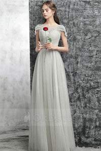 Silver Marvelous Grey Round Neck Tulle Long Prom Dresses