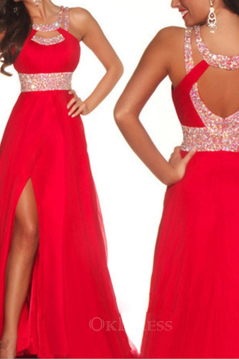 Red Sexy A Line Scoop Long Split Chiffon Beading Prom Dresses