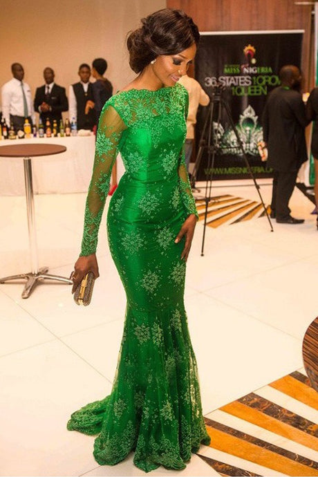 Green Trumpet/Mermaid Long Sleeves Lace Applique Beading Evening Dresses