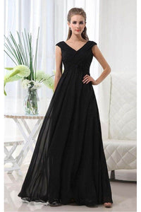 Black Glamorous Floor-Length A-Line V-Neck Empire Black Bridesmaid Dresses