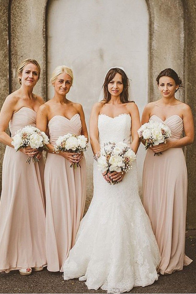 Pink Strapless Sweetheart A-line Long Chiffon Bridesmaid Dresses