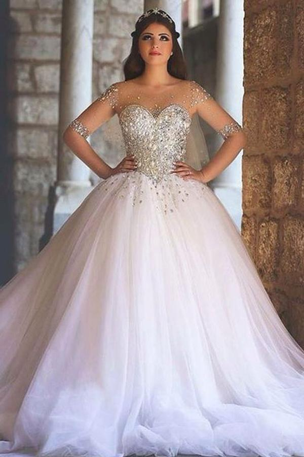 Fantasy Scoop Half-Sleeves Sweep Train Ball Gown Wedding Dresses