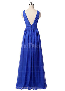 Royal Blue Elaborate Floor-length A-Line Chiffon Zipper Prom Dresses