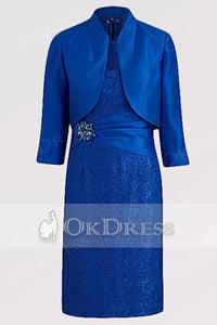 Sheath/Column Knee-length Mother of the Bride Dresses ( Jacket included)
