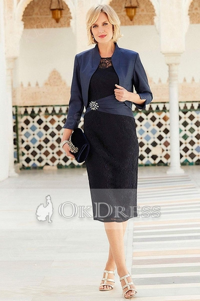 Dark Navy Sheath/Column Knee-length Mother of the Bride Dresses ( Jacket included)