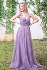Chic Tulle Strapless Bridesmaid Dresses with Sheer Illusion Sleeves