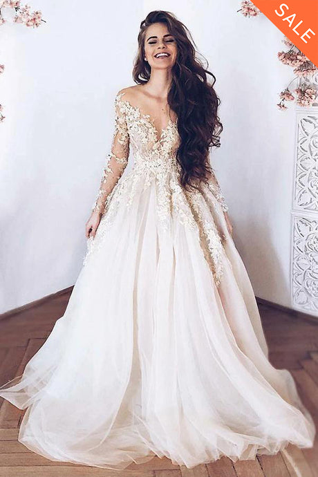 A-Line/Princess  Sweep Train Tulle  Long Sleeves Appliques Lace Wedding Dresses