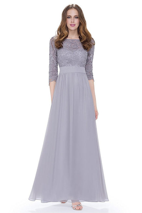 3/4 sleeve A-line Chiffon Lace Long Prom Dresses