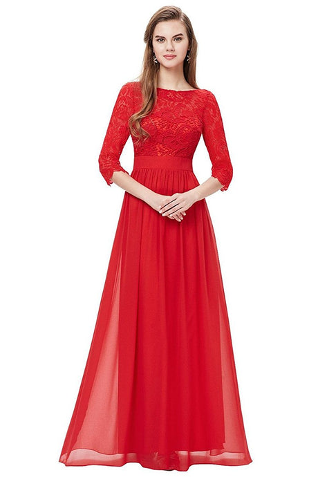 Red 3/4 sleeve A-line Chiffon Lace Long Prom Dresses