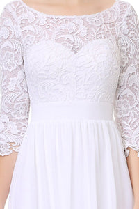White 3/4 sleeve A-line Chiffon Lace Long Prom Dresses