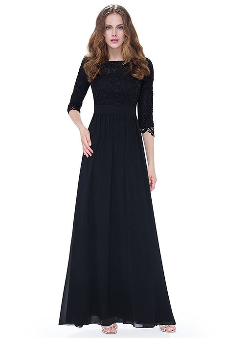 Black 3/4 sleeve A-line Chiffon Lace Long Prom Dresses